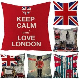 Solo lado impresión británica viento almohada Inicio Sofá cama decoración Cojín cuadrado de algodón de la bandera británica de lino Oficina de la funda de almohada XD23440