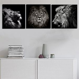 Afrika Orman Yabani Hayvan Lion Tiger Siyah Ve Beyaz Kanvas Tablolar Resim Wall Art Oil Poster Dekorasyon Ev Dekorasyonu