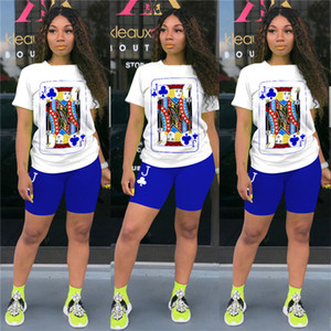Tenues Cartoon Imprimé Femmes Mode Designer à manches courtes T-shirt Neck Top Shorts Set 2 Piece Survêtement Casual Sportsuit New D63004