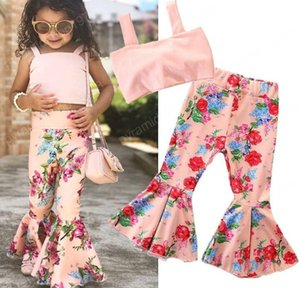 Wholesale Childrens Wear Summer hot Selling kids designer clothes girls Garment tops + Bell Trousers Suit kids set clothes
