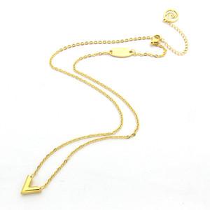 Alta calidad Collar de acero inoxidable se elevó en forma de V pendiente del collar 18K collar de oro de las señoras de plata de oro