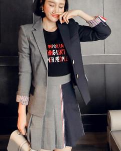 versão coreana da Primavera e no Outono nova jaqueta de cor temperamento correspondência terno + fashion plissado conjunto saia