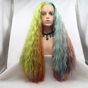 Aohai lace front Amaryllis Rainbow Full Wig Synthetic Wig for Women for cosplay heat resistant fiber