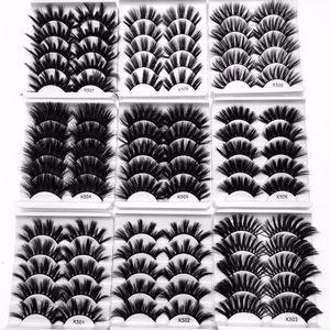 NUOVO 5 coppie 3D visone capelli ciglia finte incrociate Wispy croce soffici 22mm-25mm ciglia estensione strumenti trucco occhi fatti a mano