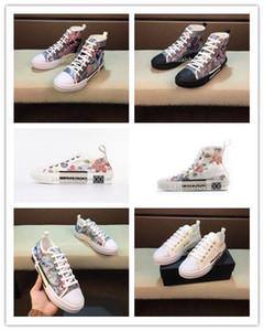19SS Çiçekler Teknik Tuval B23 Yüksek Üst Sneakers Eğik Erkek lüks Tasarımcı Ayakkabı Bayan Moda Sneakers casual Ayakkabı boyutu 36-44