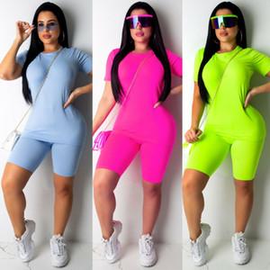 2Pcs Lady Outfit Women Sportwear vestito allentato Bassiera pantaloni di scarsità di attrezzatura di estate Solid due pezzi di allenamento Abbigliamento Tuta