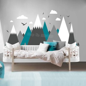 Gray Cream Mountains Wall Sticker Home Decor For Kids Room Nursery - Eagles Pine Trees Clouds Beautiful Art Murals Decal JW373 T200601