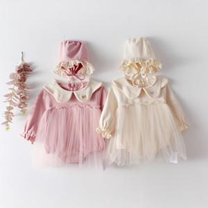 INS 봄 아기 소녀 뛰어 돌아 다니는 긴 소매 단색 라운드 칼라 메쉬 패치 워크 장난 꾸러기 + 모자면 100 %의 여자 아이 의류 0-2T 옷