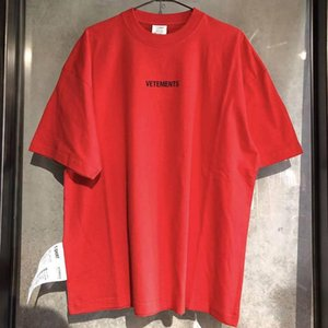 Vetements t shirt uomo donna 1: 1 di alta qualità Rosso Nero Big tag Vetements Tees Moda Vetements t-shirt