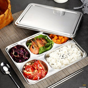 Divisé en acier inoxydable alimentaire Plateau Snack Dîner Plate Compartments School Restaurant Plate Snack Cuisine Contenant à Lunch Box GGA3471-5