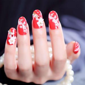 24PCS الأحمر وهمية الأظافر العروس الأظافر الزائفة بريق الأظافر نصائح مع الغراء فن الأظافر المساعدون CJ666