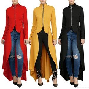 صالح سليم غير النظامية اللباس Vestidoes ملابس النساء خلع الملابس الصلبة ملابس اللون طويل الربيع الخريف