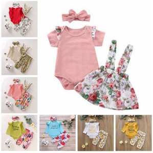 Bebek Kız Giyim Çocuk Çiçekli Giyim fırfır tulum Pantolon Kafa Kıyafetler INS Harf Ayçiçeği Jumpsuit tulumları Suits C6787 ayarlar
