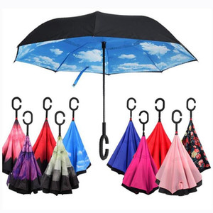 Camada C-Mão-chuvas inversa à prova de vento reverso duplo invertido Umbrella Inside Out Auto Suporte à prova de vento Umbrella 40 estilos EEA1680