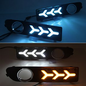 2Pcs LED Daytime Running light DRL fog lamp with Yellow Turn Signal Light For Volvo S80 2009 2010 2011 2012 2013