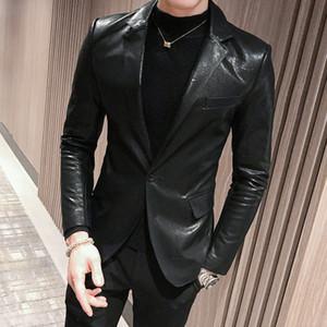 New Faux Leather Mens Blazer Luxo Double Breasted Pu masculino Blazer Moda Bordados Único Breasted Slim Fit Man