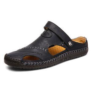 Di vendita calda in pelle di grande formato Mens sandalo doppie uso cowskin sandali da spiaggia cowskin ciabatte uomini scarpe da corsa di festa uomo sandalo zy209