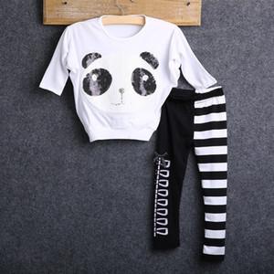 Pudcoco 2-7Y Yeni Stil Moda Bebek Bebek Çocuk Kız Giyim Panda Kazak Tops ve Çizgili Tozluklar 2adet Kıyafet Takımları