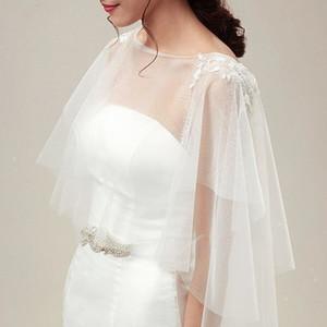 Wedding Jackets Wraps nupcial Capes Manto Tulle chaqueta Romântico mujer Acessórios do casamento capa coprispalle donna Shrug bolerko