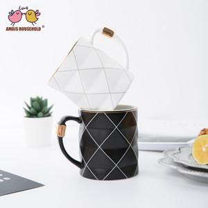 450ml Nordic d'or noir et blanc Grille géométrie en céramique tasse à café en porcelaine jus Timbale Afternoon Coffee Milk Tea Cup
