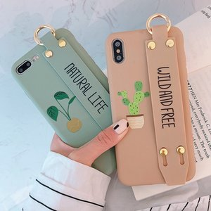 Stylish Cute Cactus Letters Phone Case For iphone11 pro max XS MAX XR X 8 7 6 6s plus Cases Soft Shell Bracket Wrist Strap Cover