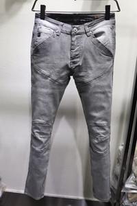 Yeni Geliş Erkek Jeans Vintage Kasetli Stil Delik Moda Erkek Jeans İnce Biker Motosiklet Nedensel Erkek Hip Hop Pantolon katlayın