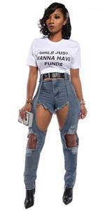 Jeans Mulheres Lavado Casual Sexy Street Style Skinny cintura alta Calças Lápis Moda Jeans Mulheres falso de duas Designer