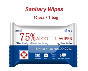 In stock 10PCS PACK Disinfectant Wipes 75% Alcohol Pads for Mobile Phones Glasses Manicure hands skin Wipes for Cleaning Alcohol Wipes
