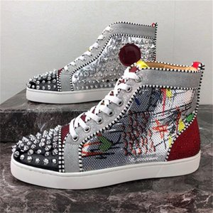2019 Men Women Casual Shoes Designer Red Bottom Studded Spikes Fashion Insider Sneakers Black Red White Leather High Boots size34-48
