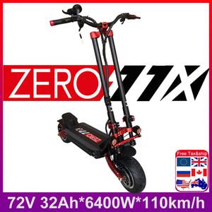 최신 ZERO 11X X11 DDM 11 인치 듀얼 모터 전기 스쿠터 72V 3200W 오프로드 E-스쿠터 110kmh 더블 드라이브 제로 11X 오프로드