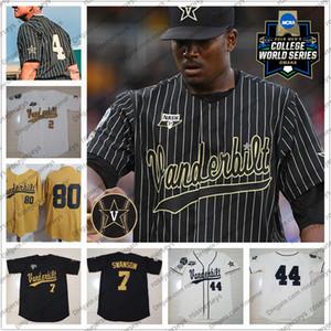Personalizzato 2020 Vanderbilt Commodores baseball qualsiasi nome Numero 51 JJ Bleday 19 Stephen Scott Rocker CWS NCAA oro bianco nero Jersey della gioventù Uomini