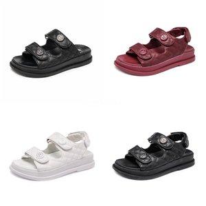 Las mujeres de lujo superior de la manera Kanye espuma Runner Designer Shoes hueso del desierto de arena blanca de la sandalia Triple Blanco Rojo Negro verano mujeres de la plataforma de la sandalia # 3