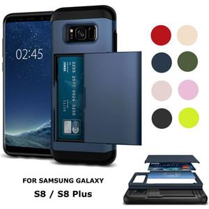 Armure robuste de luxe avec porte-carte coulissante portefeuille antichoc mince couverture de cas de téléphone pour iPhone 6 7 8 plus XS Samsung S6 S7 S8 S9 Note 9 8