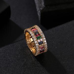 Mulheres Moda Anel 6-9 Gold Plated arco-íris Anéis Micro pavimentada 7 Cores jóia do casamento Flor Mulheres presente