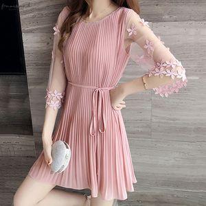 Fashion Sweet Style Female Dresses Summer Short Sleeve Slim Pink Dress 2020 New Women Korean Black Elegant Dress