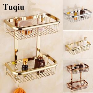 banheiro Tuqiu ouro Canto prateleira Soap Titular dupla banheiro Nível prateleiras cesta suporte de bronze shampoo