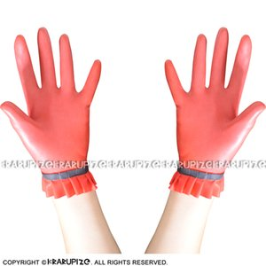 Red With Black Trims Decorations Sexy Short Latex Gloves With Ruffles On Top Rubber Mittens 0030