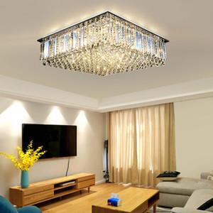 Moderne quadratische Kristalldecke Kronleuchter leuchten bündig montieren Kristall Kronleuchter Beleuchtung Rechteck LED Deckenleuchten für Wohnzimmer Schlafzimmer