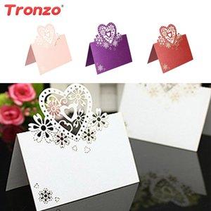Tronzo Cartão de Convite de Casamento Decoração de Casamento Centros de Mesa 10 pçs / set Laser Cut Convites Decoração Do Partido
