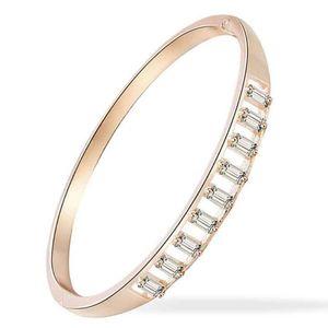 Fashion Minimalist Women Cubic Zirconia Inlay Cuff Bracelet Bangle Jewelry Birthday Wedding Bridal Jewelry Gift