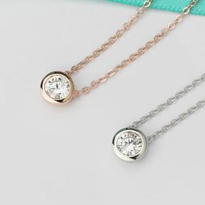jóias de luxo S925 sterlings colar de prata zircão círculo rodada pingente de colar simples para as mulheres gargantilha hot moda
