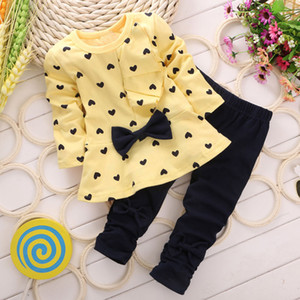 New spring girls bow set children's clothing casual dress+full pants sets kids clothes cotton Brand two pieces suits vestido