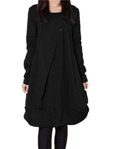 ZANZEA Kadınlar Artı boyutu Elbise Katı Renk Uzun Kollu Yuvarlak Yaka T Shirt Dress Cepler
