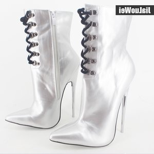 "7"" Extreme high heel fashion ankle boots Metal thin Heels Lace-up unisex fetish sexy Pointed Toe PU Leather women shoes"
