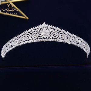 European Simple Sparkling Full Zircon Bridal Tiaras Crowns Plated Crystal Wedding Hairbands For Brides Bridesmaid Jewelry SH190713