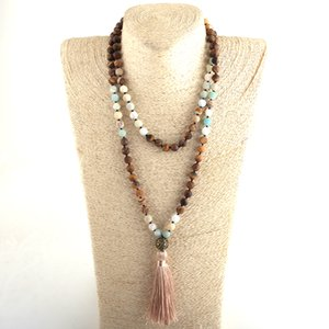 MOODPC мода чешские племенные ювелирные изделия 108 бисер ожерелье 8 мм натуральный камень кисточкой йога Ожерелье для женщин Lariat ожерелья