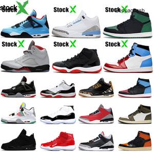 2020 Feu Rouge 5 élevé 11 S Travis Scotts 4 4s UNC pin vert 1 s 1 intrépide Femmes Hommes jordon de basket-ball Chaussures Taille 5.5-13