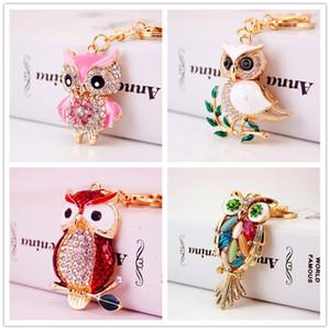 Cute Cartoon strass Owl Portachiavi delle ragazze delle donne del sacchetto del pendente decorazioni gufo animale metallo di Keychain