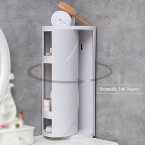 Canto do banheiro prateleira de giro de 360 graus Canto armazenamento Titular Cozinha Organizador cremalheira Space Saver banheiro Shampoo Titular