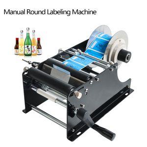 DHL frei! MT-30 Handbuch runde Flaschen-Etikettiermaschine Bierdosen Wein anhaftende Aufkleber Labeler Etikettenspender-Verpackungsmaschine